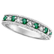 .30ct Green Emerald And Diamond Ring Anniversary Band Scroll Work 14k White Gold