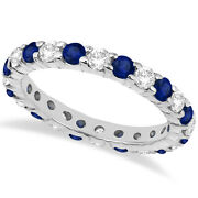 2.35ct Stackable Eternity Diamond And Blue Sapphire Ring Band 14k White Gold