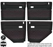 Pink Diamond Stitch 4x Door Card Leather Covers For Land Rover Defender 90 110