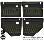 Yellow Diamond Stitch 4x Door Card Leather Covers For Land Rover Defender 90 110