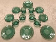 Rare Doric And Pansy Set Of Ultramarine Depression Glass Childrenandrsquos Dishes