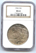 1924 Strong S1 Ngc Ms63-nice Toned- Peace Dollar//