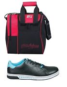 Womens Kr Gem Bowling Shoes Black/teal Sizes 5-11 And Red Kr 1 Ball Bag