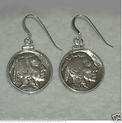 Coin Earrings Indian Head Nickel Coins .925 Sterling Silver Bezels Earwires