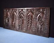 17th Century Antique French Highly Carved Gothic Panel In Oak Wood Salvage