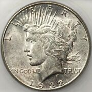 1922 S Peace Dollar Silver Coin Icg Ms63 Choice Bu Unc Better Date Lightly Toned