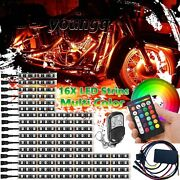 16x Motorcycle Rgb Led Light Under Glow Body Neon Accent Strip Remote Control