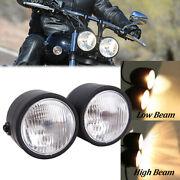 Twin Front Headlight W/ Bracket For Harley Dual Sport Motorcycle Street Fighter