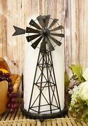 14.5tall Rustic Country Farm Windmill Outpost Paper Towel Holder Metal Figurine