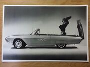 12 By 18 Black And White Picture 1963 Thunderbird Convertible Power Hide Away Top