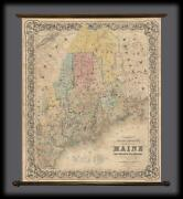 1855 Colton Wall Map Of Maine