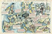1872 Yves And Barret Pictorial Map Of Europe After The Franco-prussian War