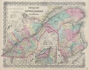1856 Colton Map Of Quebec, Montreal And New Brunswick, Canada