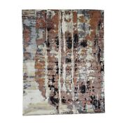 8and039x10and0391 Abstract Design Wool And Silk Hi-lo Pile Hand-knotted Rug R39620