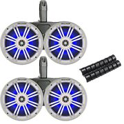 Kicker Black Waterproof Tower System 6.5 White Marine Blue Led Oem Speakers
