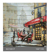 French Cafe 3-d Hand Made Wall Mount Oil Painting Artwork Home Decor Decoration