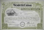 Stock Certificate 1965 Western Union Telegraph 12 Shares Green Common Stock