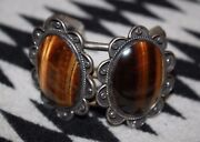 Signed Zuni Beverly Estate Vintage Wire Silver And Agate Cabachon Bracelet
