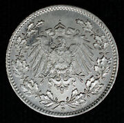 Germany 1/2 Mark 1918/15 D Ch Bu Silver Km17 1/2m Imperial Eagle Overdate