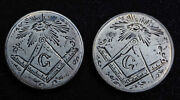 Love Token Cuff Pair Masonic All Seeing Eye On Liberty Seated Quarter 25c Silver
