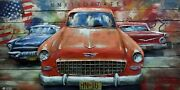 Primitive Home Decor Acrylic Metallic Car Gift 3d Wood Painting For Hotels Figur
