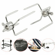 2pcs Bbq Stainless Spit Forks Charcoal Chicken Grill Rotisserie Barbecue Tool