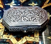 Vtg Octagonal 800 Sterling Silver Jewelry Box Floral Ornament Engraved 20.56 Oz