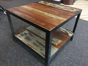 Steel And Wood Coffee Table, Reclaimed Redwood, Rustic Farmhouse