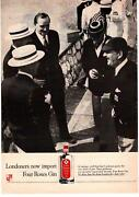 1958 Four Roses London Dry Gin Straw Boater Skimmer Sennit Sailor Hat Print Ad
