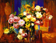 Franz Bischoff Roses In A Tall Glass Canvas Print 16 X 20   4482