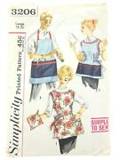 Simplicity Vintage 1950s Bust 38 39 40 Apron Sewing Pattern Cinch Waist 3206