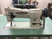 Consew 206rb-5 Industrial Sewing Machine W/ American Made Wood Green Top Table