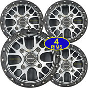 Four 14 Aluminum Rims Wheels Most Can-am Atv Center Caps And Lug Nuts 14x7 4/137