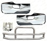 Qsc Chrome Bumper Corners Pair + Stainless Steel Deer Guard For Kenworth T680