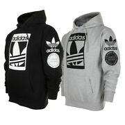 Adidas Menand039s Original Trefoil Street Graphic Front Pocket Active Pullover Hoodie