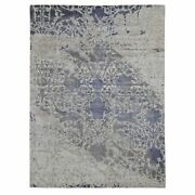 9and039x11and03910 Silk With Textured Wool Erased Mughal Design Hand Knotted Rug R47557