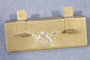 Very Nice Brass And Silver Masonic Pen Holder Pen Stand