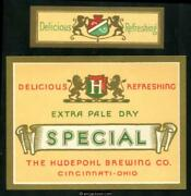 Hudepohl Brewing Co. Cincinnati, Ohio. Extra Pale Dry Special. Beer Label