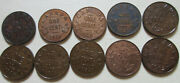 Lot Of Canada George V Small Cent Coin. Vf/ef/au 10 Pennies 1920-1936 Lc01