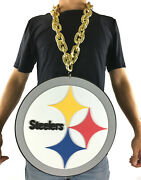 New Nfl Pittsburgh Steelers Gold Color Fan Chain Necklace Foam - Jumbo Size