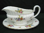 Gravy Boat And Underplate Royal Worcester Roanoke Dresden Flowers Gold Trim Euc