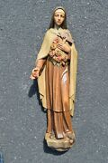 Beautiful Older 28 1/2 Hand Carved Wood Statue Of St. Therese Inf. Jesus Sp33