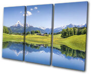 Swiss Alps Mountain Lake Landscapes Treble Canvas Wall Art Picture Print