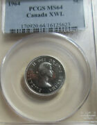 1964 Canada Ewl Extra Water Line Five Cents Coin. Nickel Pcgs Ms-64