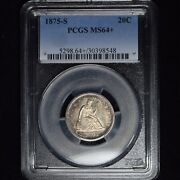1875-s 20c Seated Liberty 20 Cent Silver Piece Pcgs Ms64+ Killer Album Toning