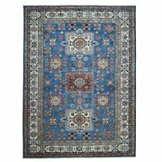 8and0397x12and0394 Blue Super Kazak Geometric Design Pure Wool Hand Knotted Rug R51796