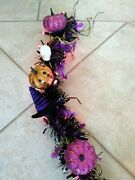Purple Bat And Skull Themed Hand Crafted Pre-lit Halloween Garland