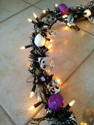 Black And Silver Skull Themed Hand Crafted Pre-lit Halloween Garland
