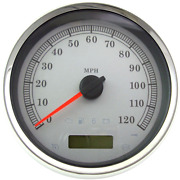 Drag Specialties 5 Programmable Electronic Speedometer White 120 Mph 2210-0463