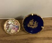 Limoges France Set Of 2 Miniature Mini Plates Courting Couple W/stands